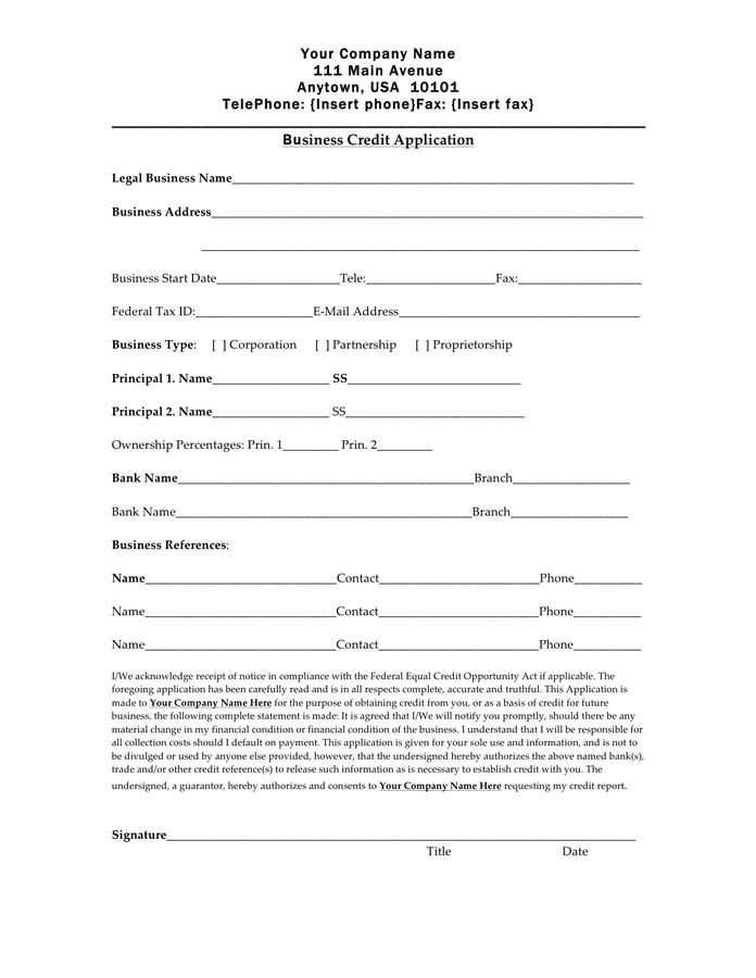 Credit Application Form - download free documents for PDF, Word ...
