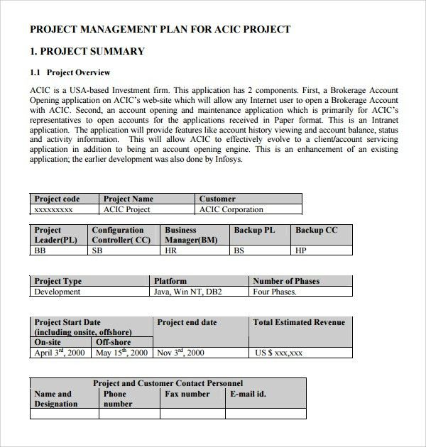 Sample Configuration Management Plan Template - 9+ Free Documents ...