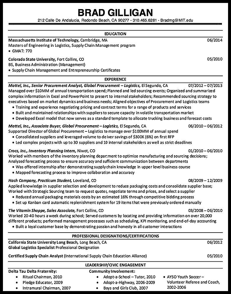 Procurement Analyst Resume Sample - RESUMEDOC