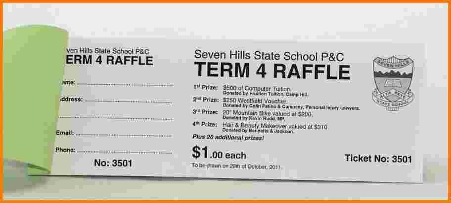 4 sample raffle tickets | Receipt Templates