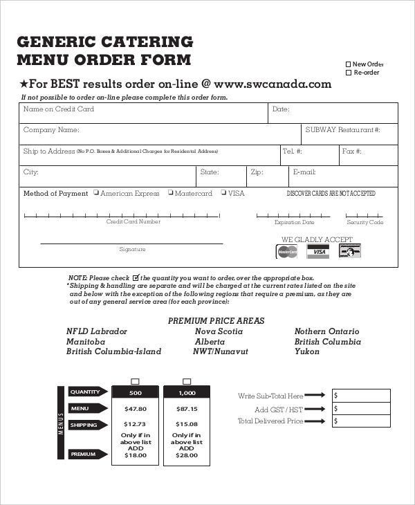 11+ Catering Order Forms - Free Samples, Examples, Format Download ...