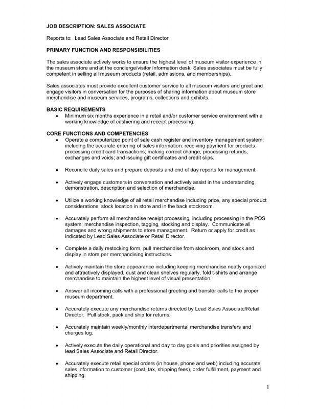 Store Associate Job Description. Resume For Sales Associate, Sales ...
