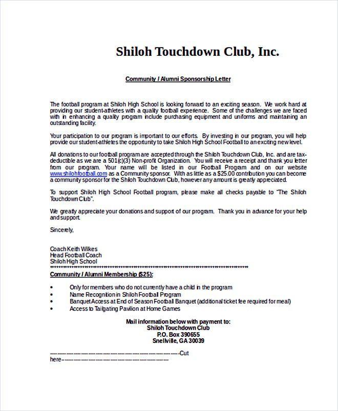 14+ Sponsorship Letter Template