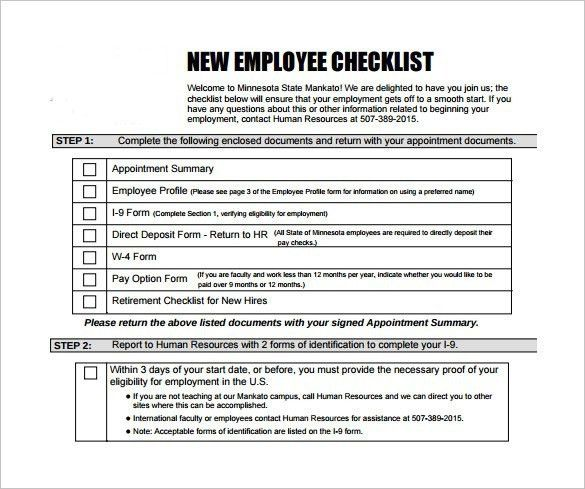 New Employee Checklist Templates | Template Idea