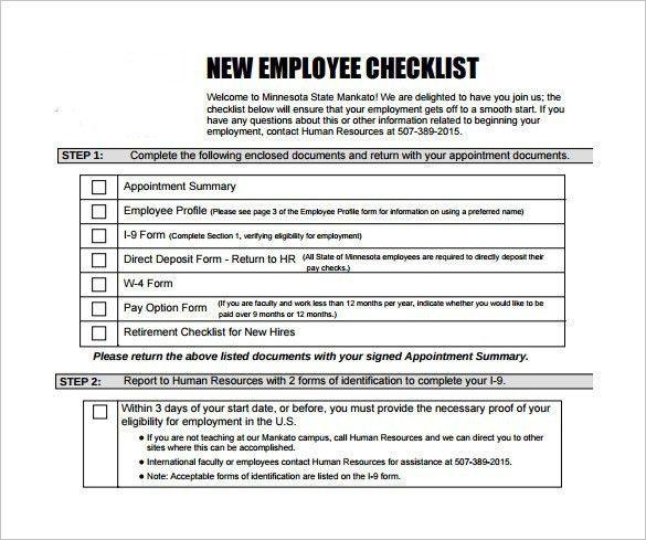New Employee Checklist Template] New Hire Checklist Template 12 ...