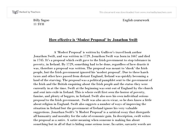 Modest Proposal Essay Examples 19 Example - uxhandy.com
