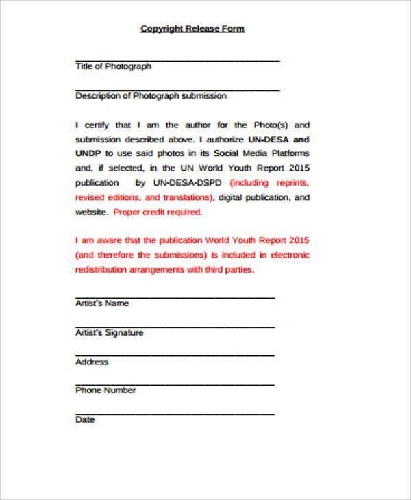 Sample Copyright Release Form - 9+ Examples in Word, PDF