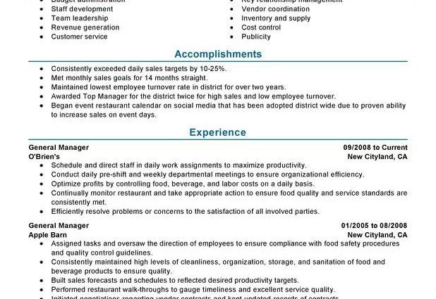 Download Restaurant General Manager Resume | haadyaooverbayresort.com