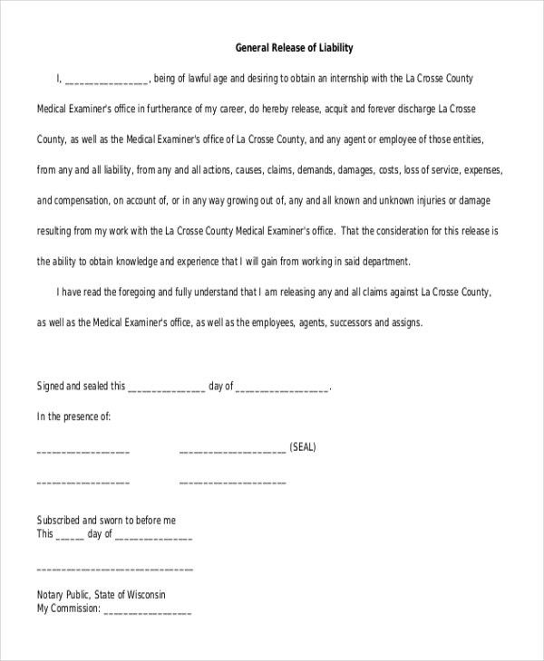 Superior Sample General Release Form. General Release Of Liability Form . Intended For General Release Of Liability Form