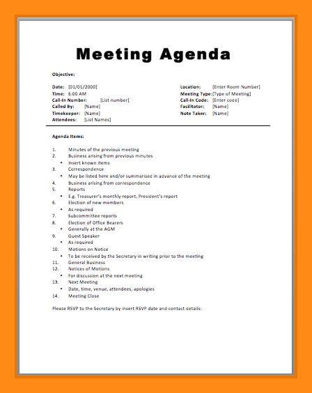6+ sample agenda for meeting | actor resumed