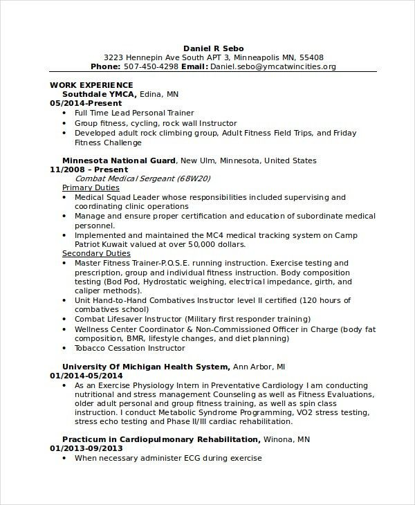 personal trainer resume sample unforgettable personal trainer