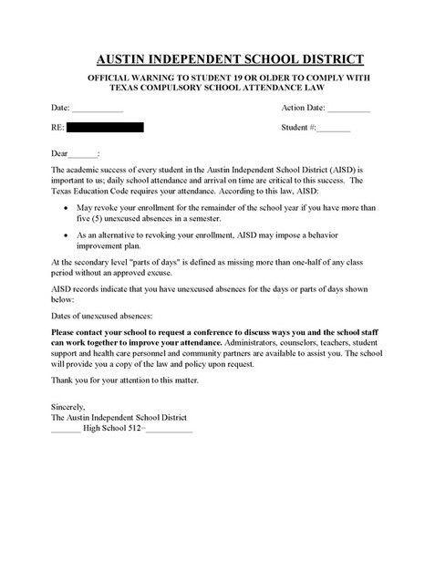 Attendance Warning Letters