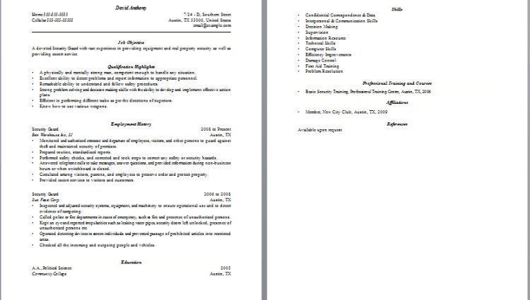 security guard resume cover letter - Writing Resume Sample ...