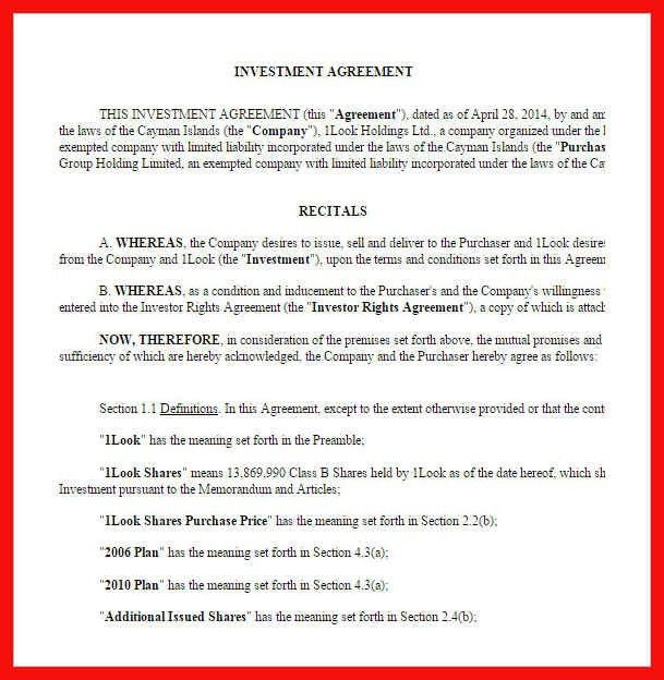 Investment Agreement Doc 60 | Samples.csat.co