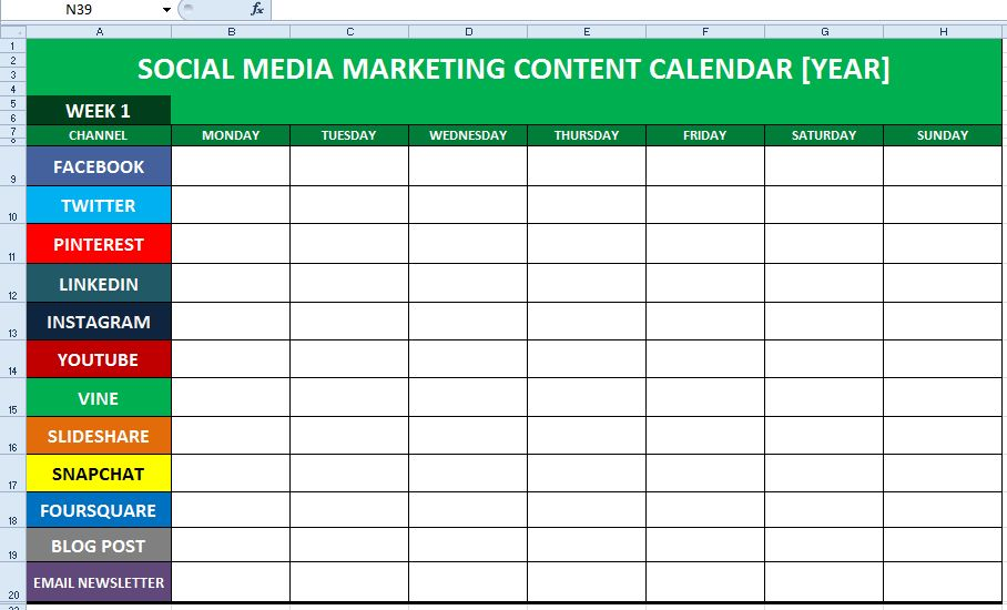 Social Media Content Calendar Template Excel | Marketing Editorial ...