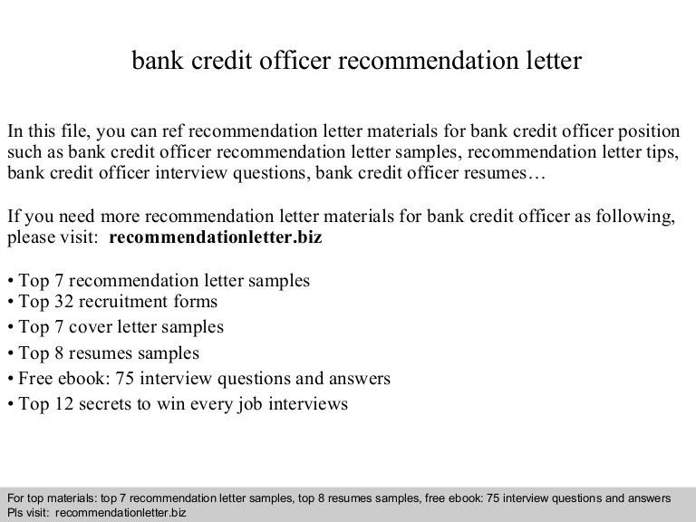 Bank credit officer recommendation letter