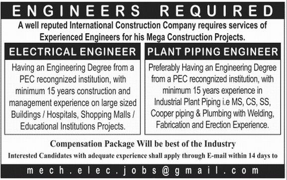 Plant Piping Engineer Job, International Construction Company Job ...