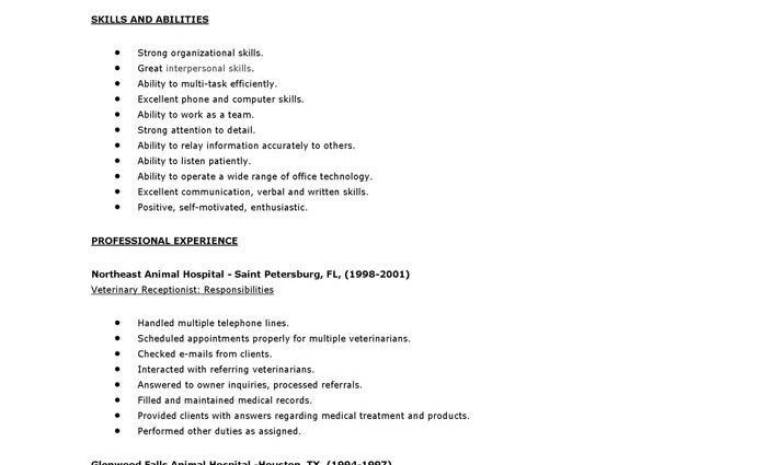 receptionist sample resume