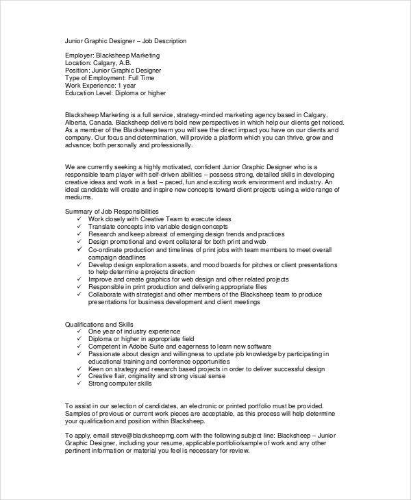 9+ Graphic Designer Job Description - Free Sample, Example, Format ...