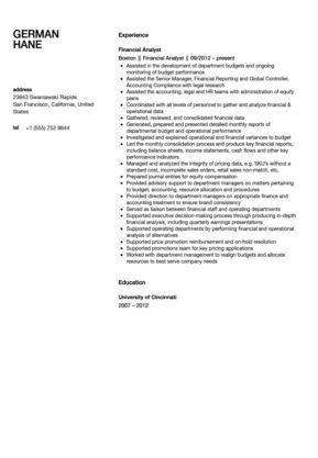 Financial Analyst Resume Sample | Velvet Jobs