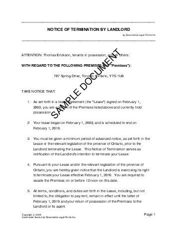 canada notice of termination by landlord. lease termination letter ...
