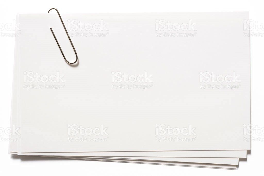 Stacked Blank White Cards With Paper Clip On White Background ...