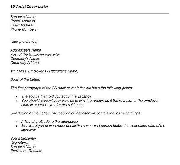 3d artist cover letter