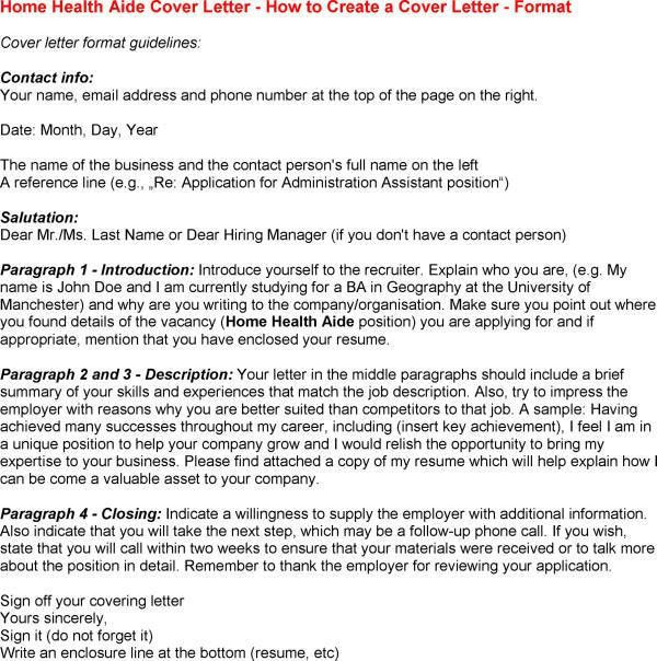 Home Care Assistant Cover Letter
