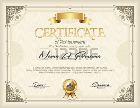 Certificate Of Achievement Vintage Gold Frame Beige Royalty Free ...