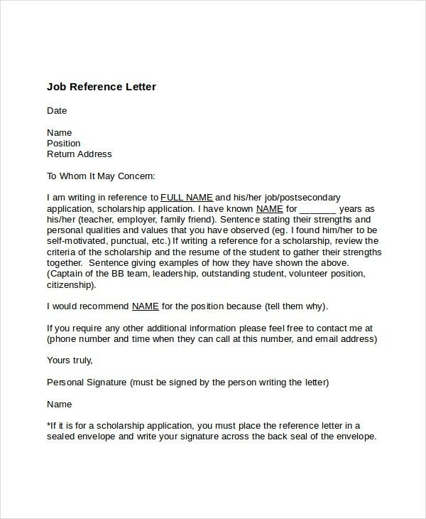 Awesome Collection of Free Sample Job Reference Letters Also ...