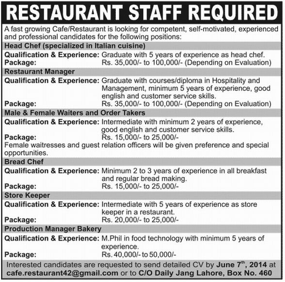 Manager Bakery Job, Cafe Restaurant Job, Head Chef, Restaurant ...