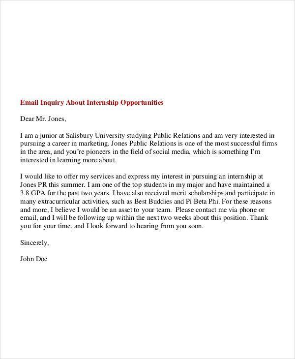 6+ Internship Email Examples, Samples
