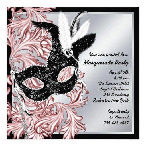 Personalized Elegant masquerade party Invitations ...