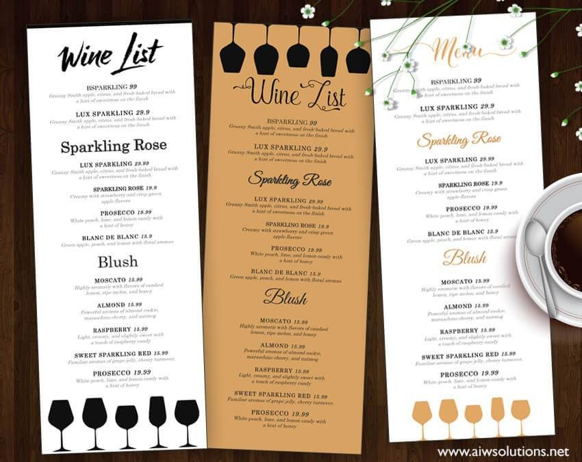 Wine Menu Template. Bottle Of Red Wine With A Black Label On A ...