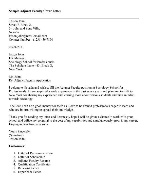 Cover Letter Design : Great Sample Cover Letter For Adjunct ...