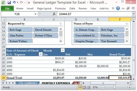 General Ledger Template For Excel