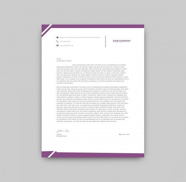 Purple details letterhead template Vector | Free Download