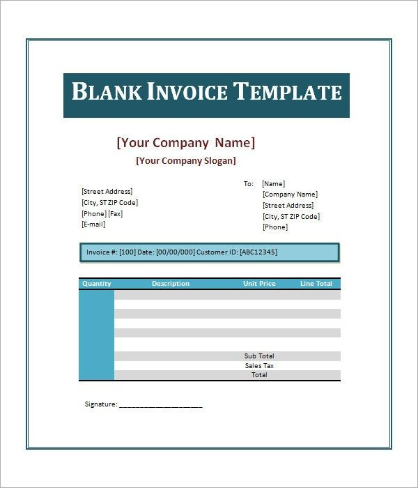 Template For Invoice Word Invoice Template For Word Free Basic – Blank Invoice Document