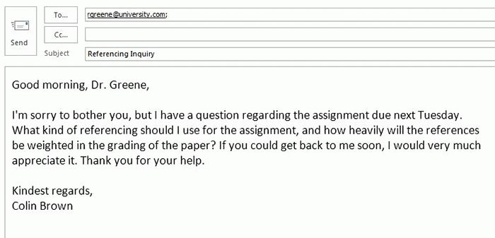 An appropriate and professional email to a professor. | Inklyo.com