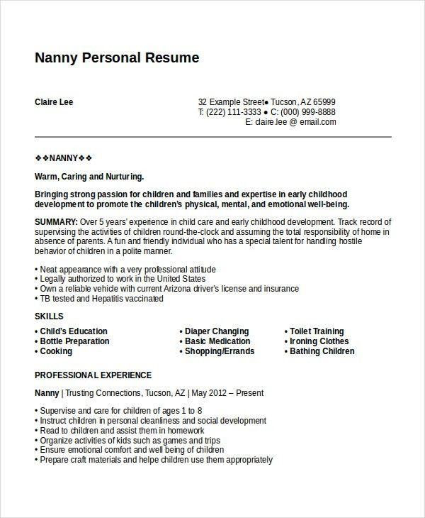 Personal Resume Template - 6+ Free Word, PDF Document Download ...