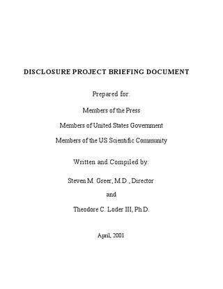 The Rockefeller UFO Briefing Document by Lt. Commander Gregory J ...