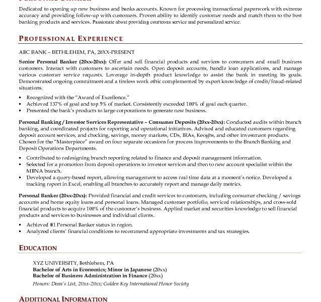 Resume For Personal Banker - formats.csat.co