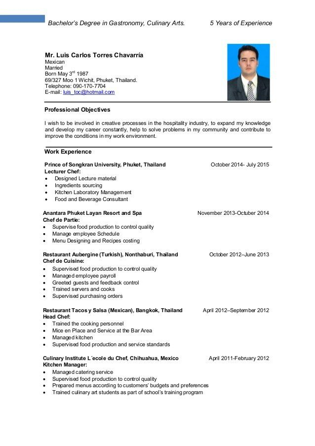 Culinary Resume - Resume Example