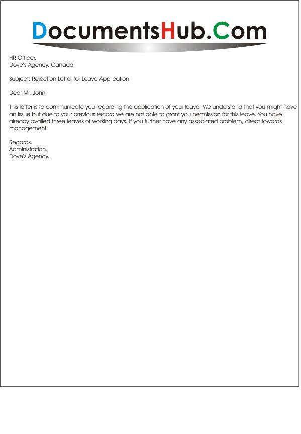 Rejection Letter for Leave Request
