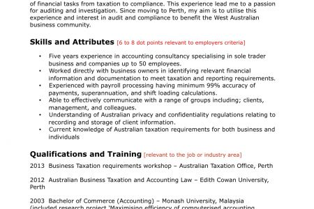 Sample resume monash university
