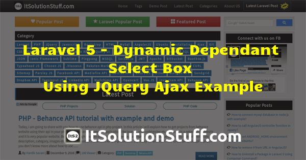 Laravel 5 - Dynamic Dependant Select Box using JQuery Ajax Example ...