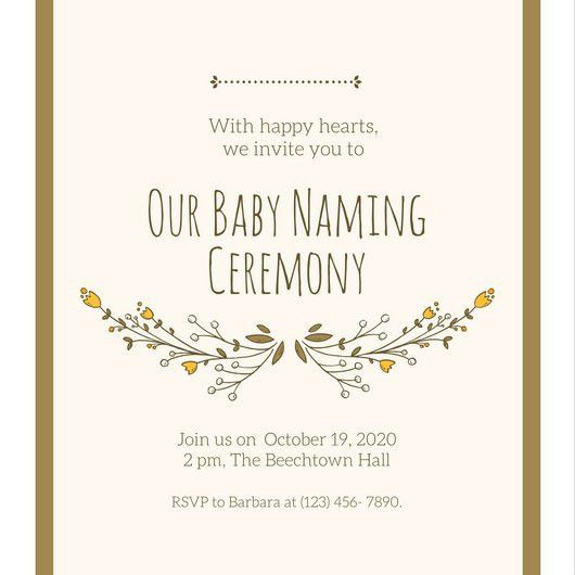Gold Baby Naming Ceremony Invitation - Templates by Canva
