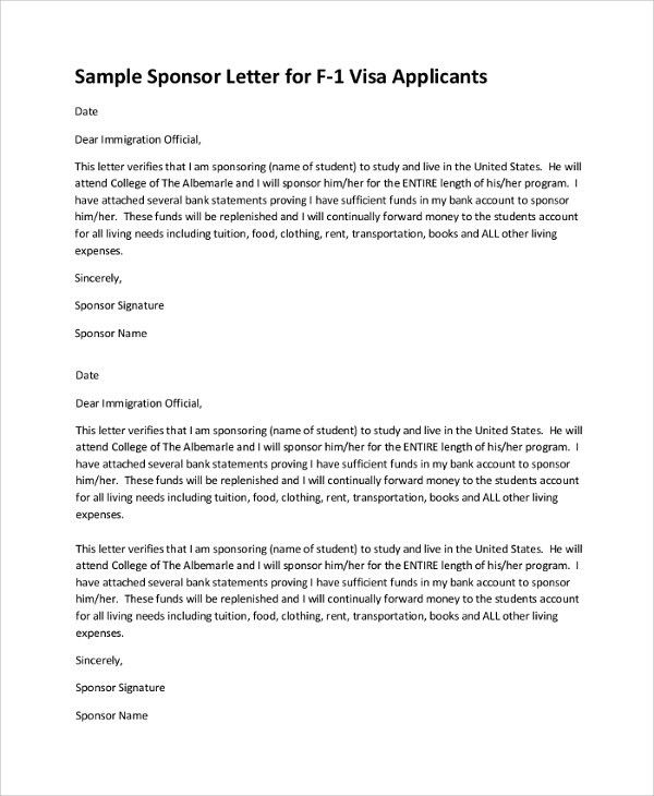 Sample Visa Sponsorship Letter - 7+ Documents in PDF, Word