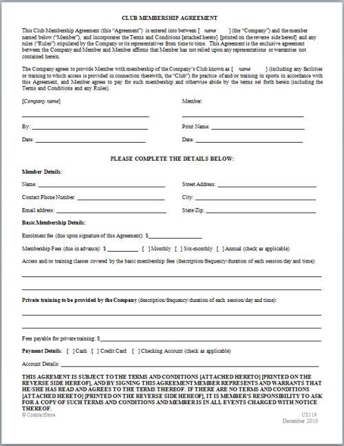 10 Best Images of Membership Agreement Template - Sample ...