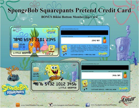 SpongeBob Credit Cards Membership Card SpongeBob